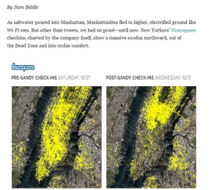 """Downtown Goes Dark on Foursquare"" from Gizmodo tumblr, Nov. 2, 2012"